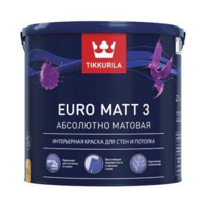 Краска EURO MATT 3 Тиккурила 2,7л