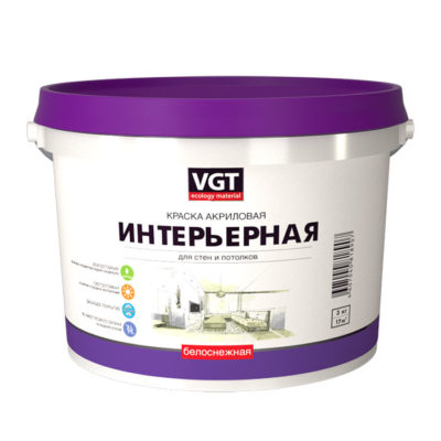 Краска белоснежная ВД-АК 2180 интерьерная влагостойкая 3кг ВГТ