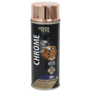 Лак аэрозольный акриловый INRAL CHROME медь